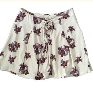 Free People Lace Up Floral Purple Mini Skirt Sz 4
